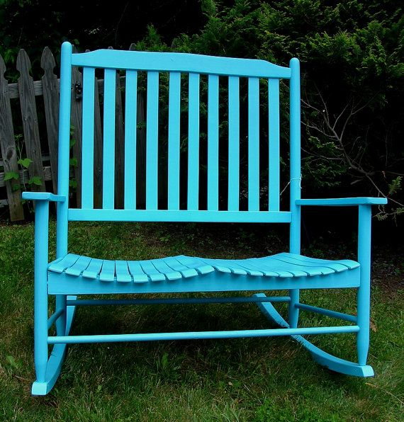 Astounding Sea Foam Blue Reclaimed Painted Bentwood Double Rocker Creativecarmelina Interior Chair Design Creativecarmelinacom