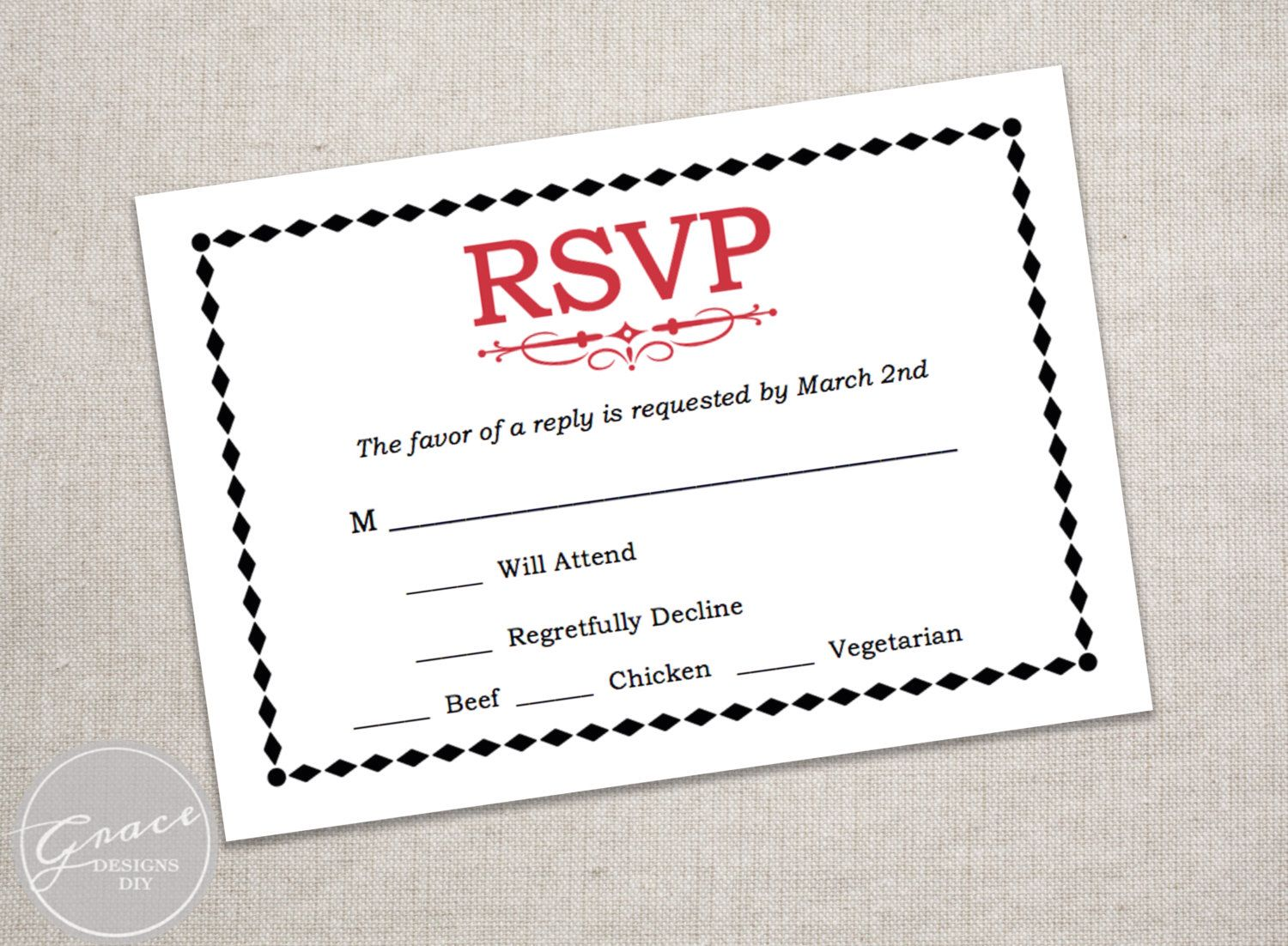 Casino Night Rsvp Card Printable Reply Card Editable Pdf Red Black Rsvp Instant Download Corporate Party 3 5 X 5 Inches Gd3102 Rsvp Card Invitation Kits Reply Cards