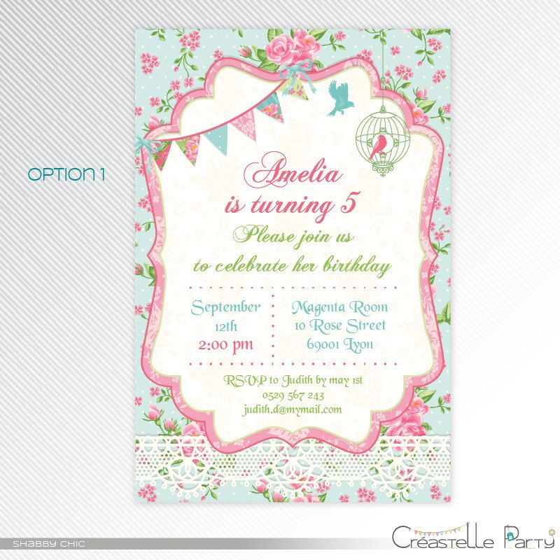 Shabby Chic Blue Pink Floral Personalised Birthday Party Bunting