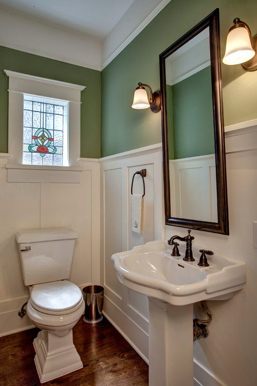 Tall White Shadow Box Wainscoting Create Depth And Make The Deep Green  Upper Walls Pop.