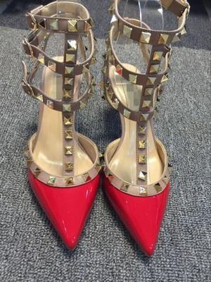 e120f6989 V home rivet pointed high heels super high heel stiletto belt sandals  bridesmaid wedding shoes female