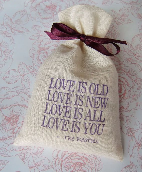 Wedding Bell Sayings: Timeless Beatles Quote LOVE IS OLD Wedding Favor By