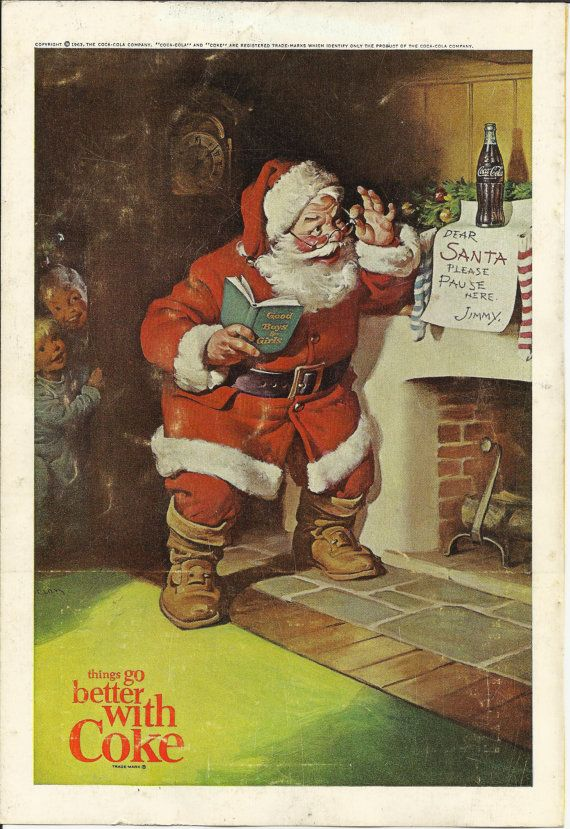 Coca Cola Santa Claus Original1963 Vintage Print Ad Color Illustration Christmas Coke Chimney Stockings