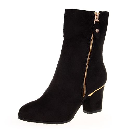 Cheap Winter Round Toe Zipper Design Chunky High Heel Black Suede Ankle Martens Boots