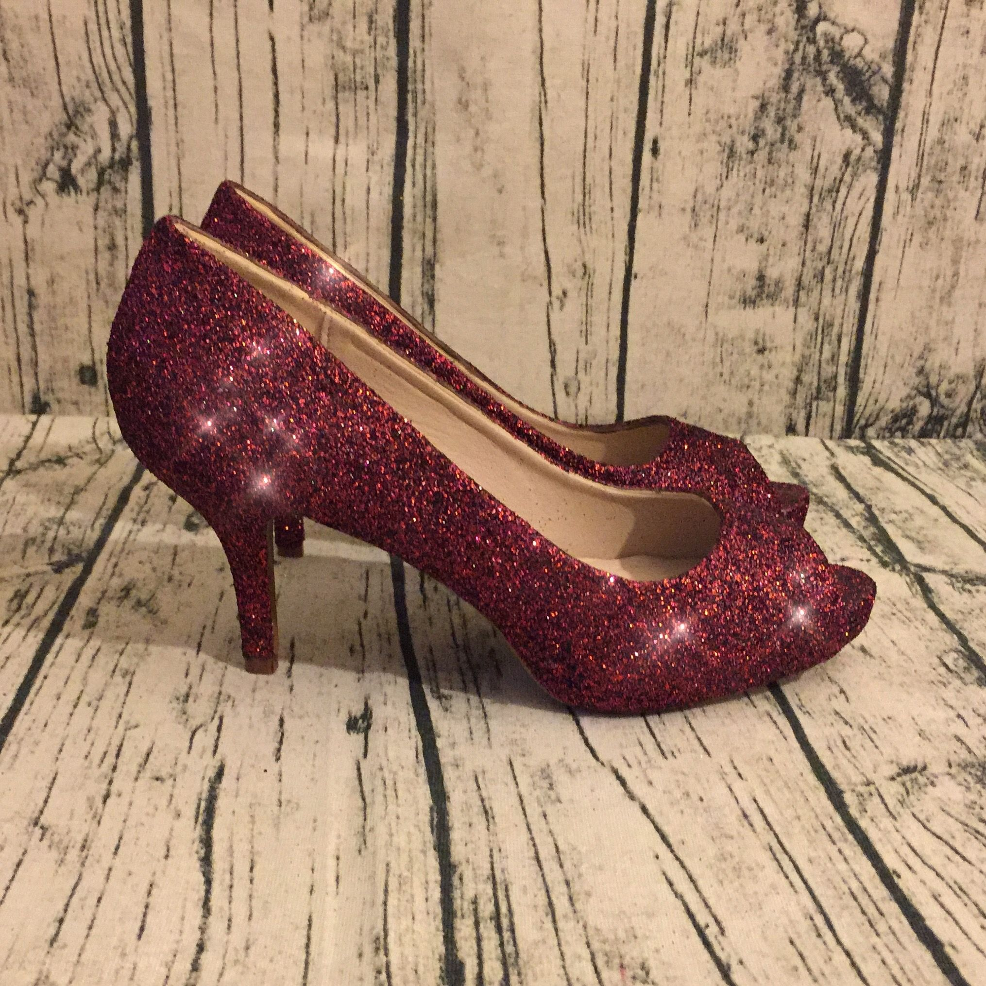 22e1eda6c Sparkly Burgundy Peep Toe Low Heels! Take $10 OFF with Code: GLAM10 ...