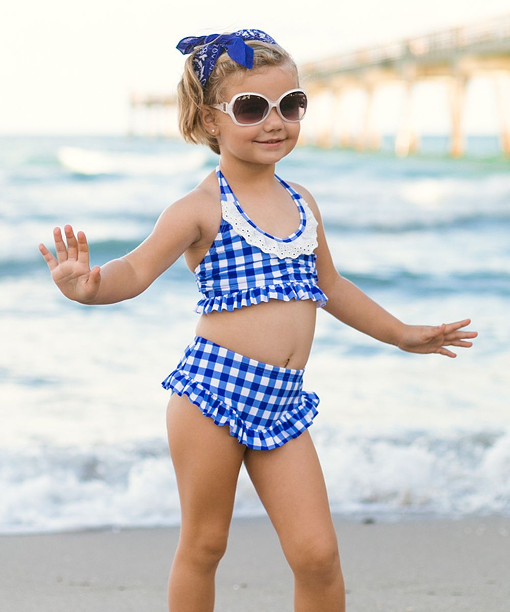 d66b3e84c5 ... Blue Gingham Halter Skirted Bikini - Toddler & Girls To be Stiched  Pinterest