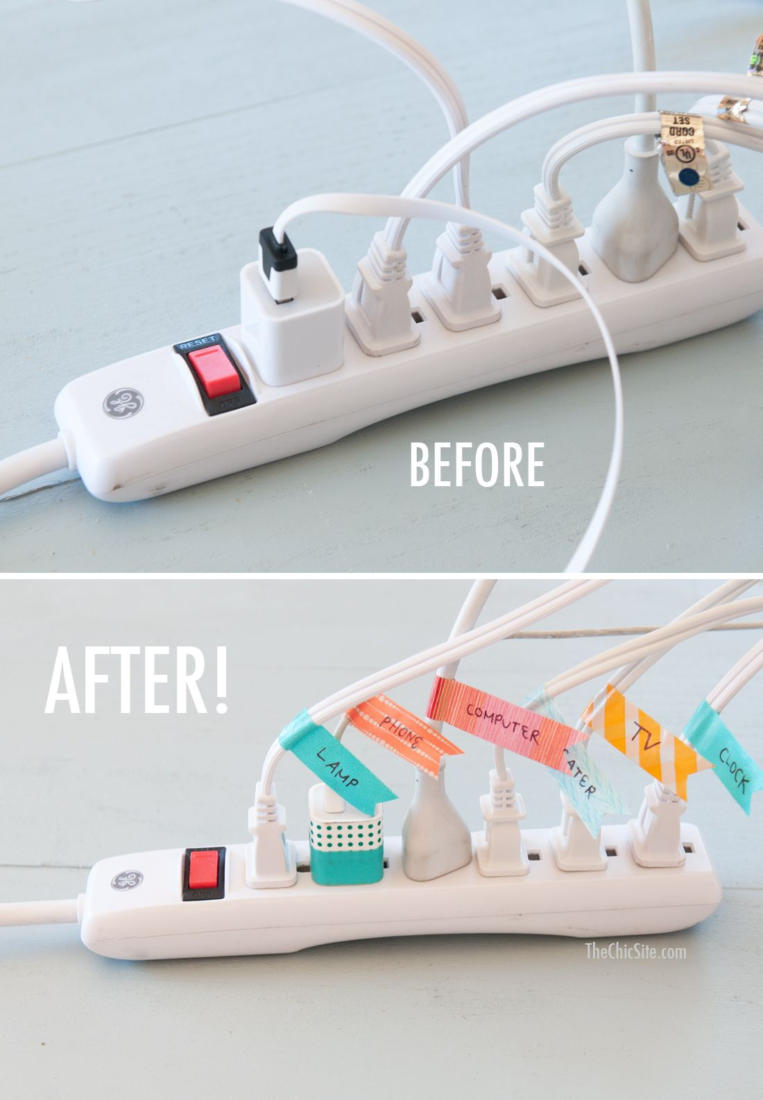 before and after cord organization ~ using washi tape #diy #tips