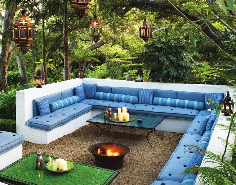 Outdoor Seating Ideas For Entertaining Part - 18: Cozy Moroccan Style Built-in Seating With A Surround Built Concrete Seating,  Blue Cushions, 2 Coffee Tables And A Fire Pit In The Center Of ...