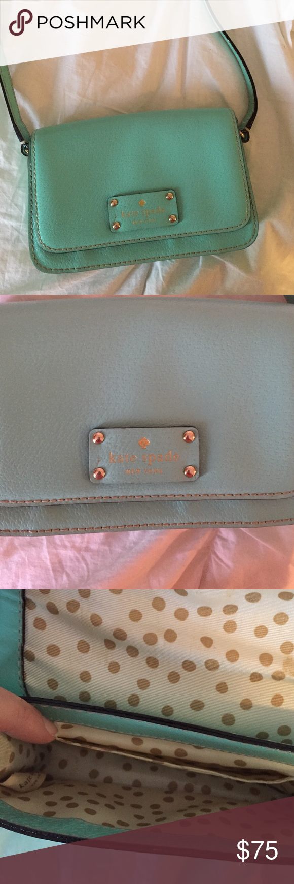 Kate Spade crossbody bag Great condition!! Gently used. Kate Spade dust bag included. Purse is 5 inches long and 7.5 inches wide kate spade Bags Crossbody Bags