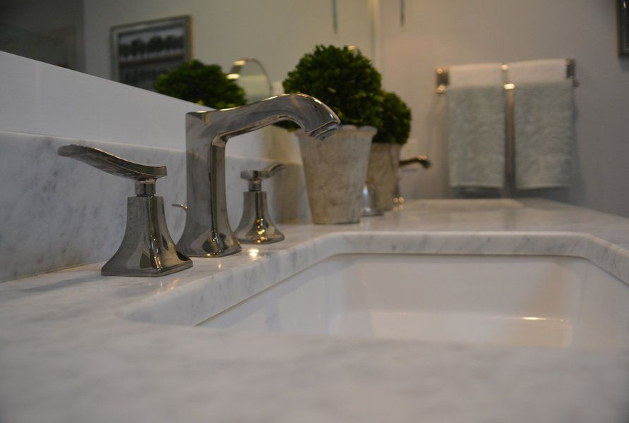 Pennington NJ Master Bath Remodel Marble Nickel Fixtures Ptimized