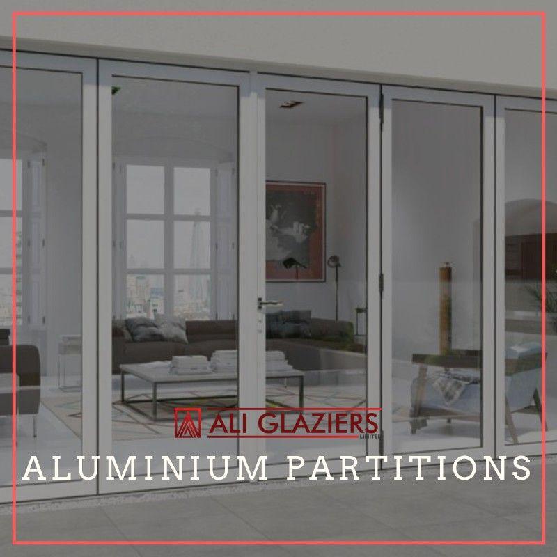 Aluminium Partitioning With White Powder Coated Aluminium Frames