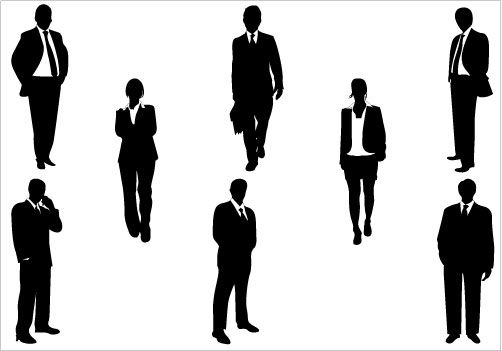 Business Silhouettes Vector Download Business Men & Women ...
