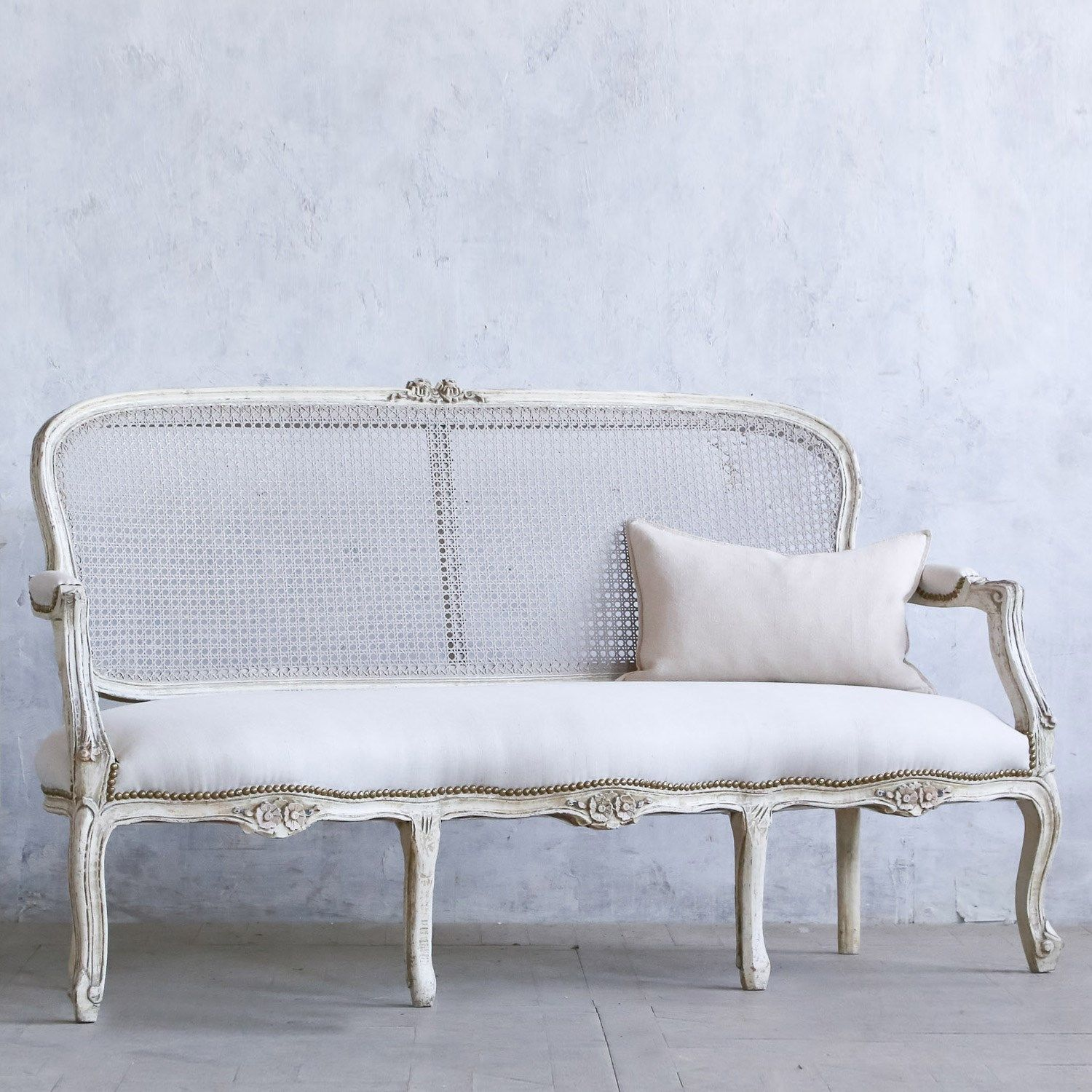Eloquence One of a Kind Vintage Settee Louis XV Off-White Cane ...