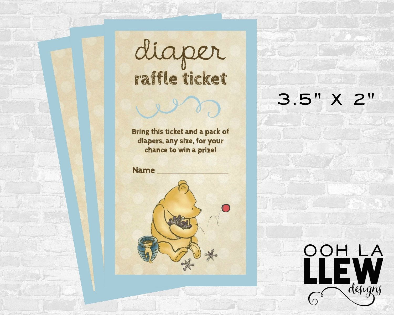 Winnie The Pooh Diaper Raffle Ticket Winnie The Pooh Baby Shower