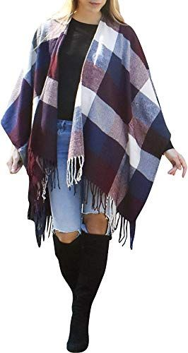 Enjoy exclusive for Daisy Del Sol Woven Knit Buffalo Plaid Checkered Wrap Oversized Blanket Sweater Poncho Ruana online #blanketsweater