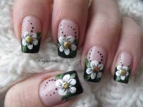 Nail Art Black French Manicure With Flower And Studs