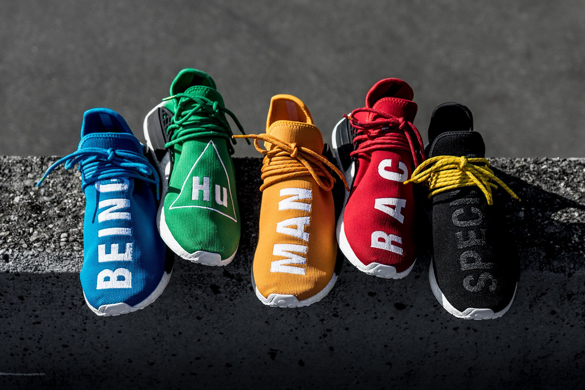 "c4cb255789b21 ... Human Race Boost with Great Discount. jordan shoes here. adidas  Originals x Pharrell Williams NMD ""Hu"" Collection"