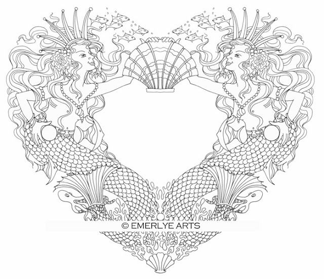 Mermaid Love - from the Open Heart collection of adult coloring - new love heart coloring pages to print