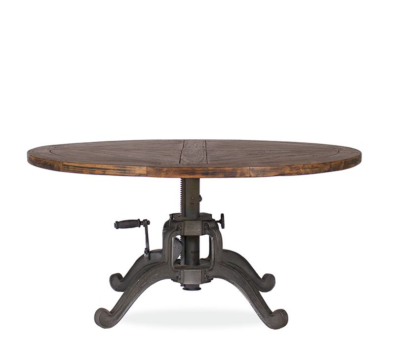 Boston Interiors The Coleman Coffee Table Is A Round Coffee Table In A Weathe Adjustable Coffee Table Adjustable Height Coffee Table Round Metal Coffee Table