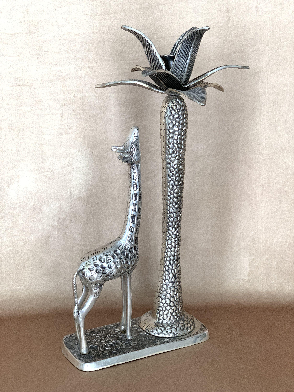 Giraffe Statue Palm Tree Silver Candle Holder