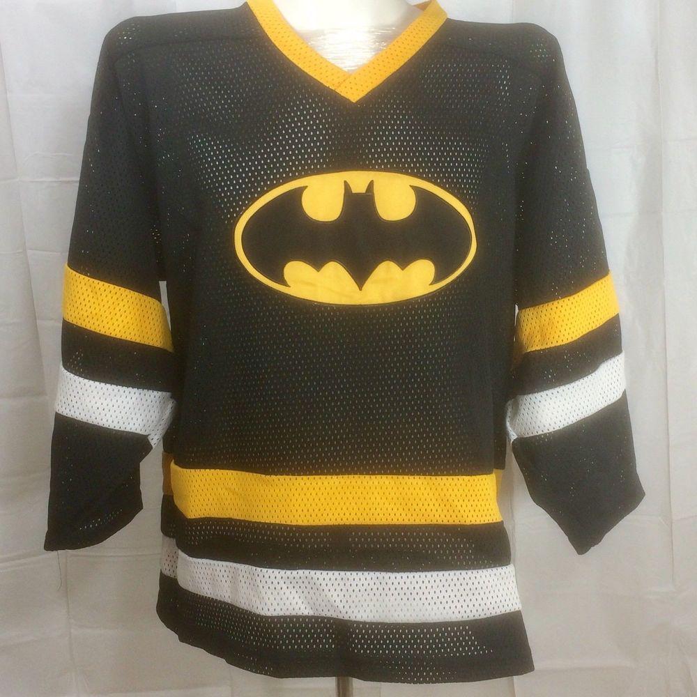 Batman Hockey Jersey Sz M DC Comics Mesh Shirt Kobe Canada