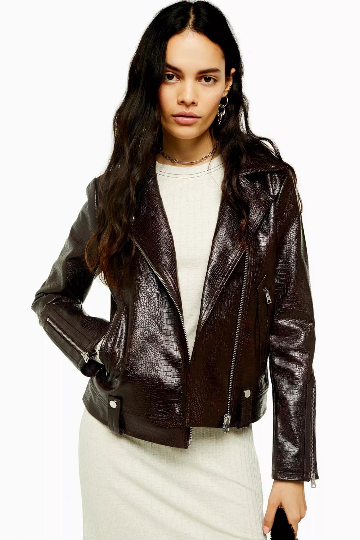 Burgundy Faux Leather Crocodile Biker Jacket Fashion