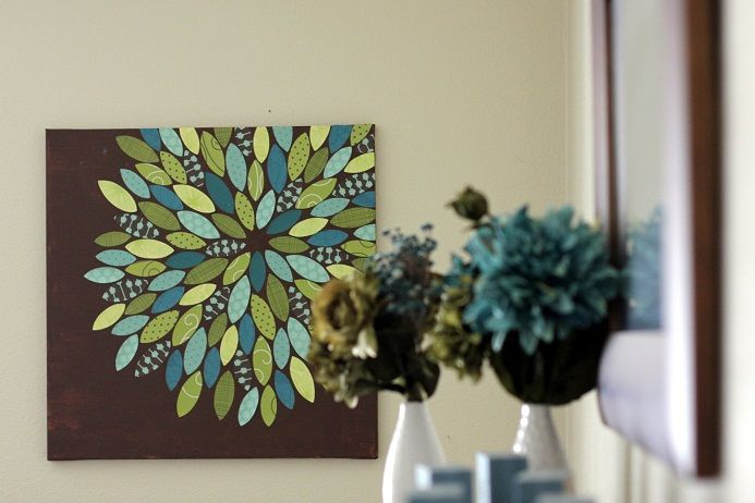Lovely Diy Painting Like Paper Flower Canvas Wall Art Decor With