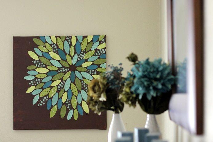 50 diy wall art tutorials flower canvas diy paper and for Diy flower canvas wall art
