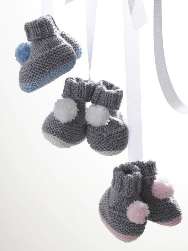 Pompom Booties in Bernat Softee Baby Solids Free | knit a stich ...