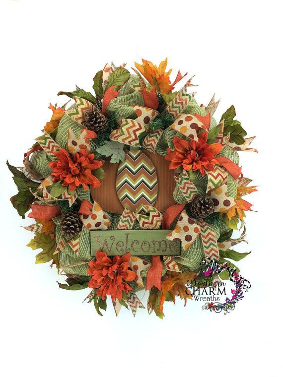 Fall Welcome Wreath Deco Mesh Fall Wreaths by SouthernCharmWreaths
