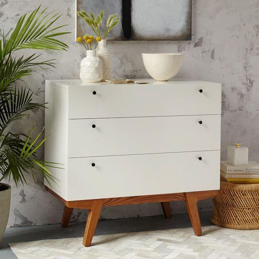 Modern 3-Drawer Dresser, White Lacquer