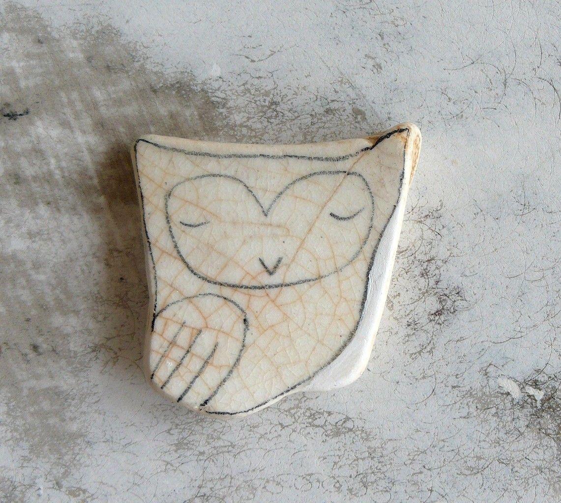 Beach Pottery Owl by LillaJizo on Etsy