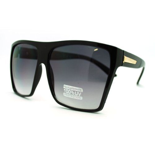 51b543036 Large Oversized Retro Fashion Square Flat Top Sunglasses BlackGold ** More  info could be found at the image url. (Note:Amazon affiliate link)