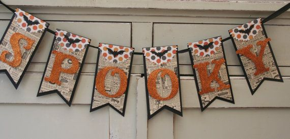 Spooky Banner Halloween Decor Vintage by LittlePumpkinPapers - halloween crafts decorations
