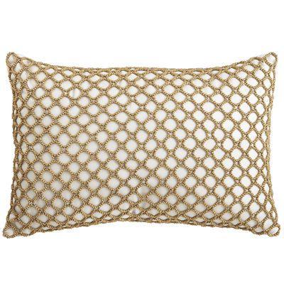 Metallic Beaded Pillow - Ivory 18 x 12 Low stock