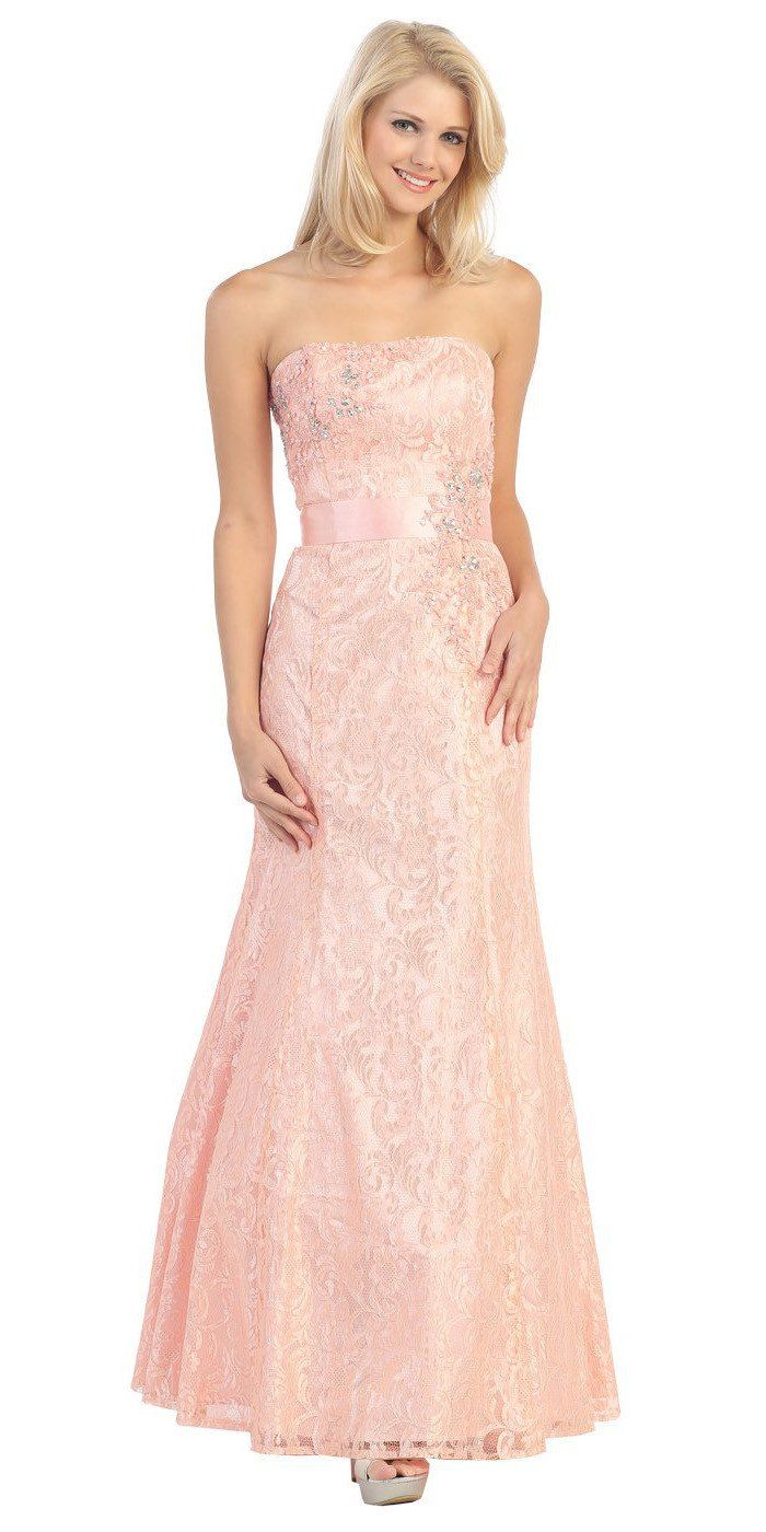 Line Strapless Natural Waist Long Mint Formal Gown