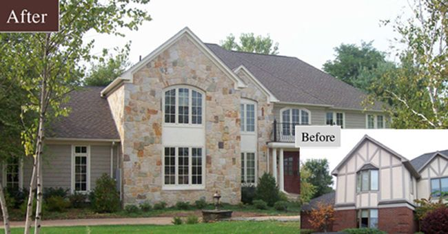This home exterior received a remodeling face lift updating the previous tudor style to a