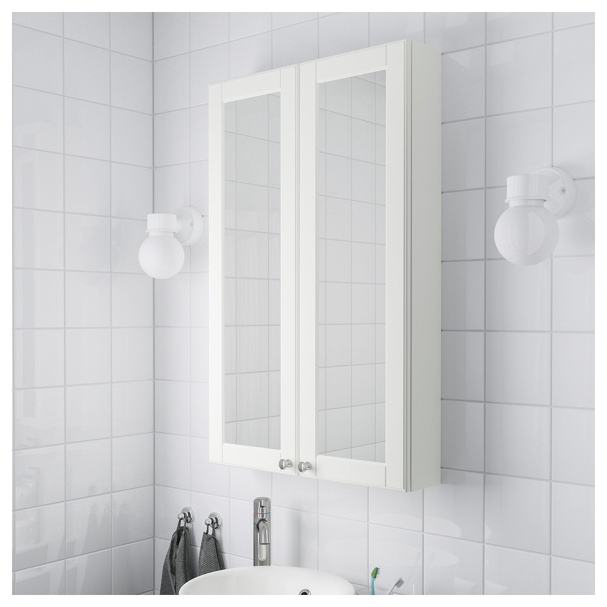 Ikea Godmorgon Kasjon White Mirror Cabinet With 2 Doors Mirror Cabinets Bathroom Mirror Cabinet Mirror Door