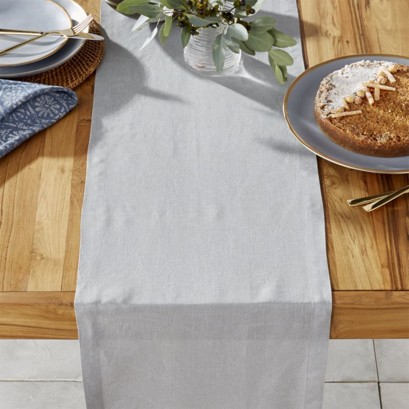 Helena 90 Grey Linen Table Runner Crate And Barrel Linen Table Runner Crate And Barrel Table Runners