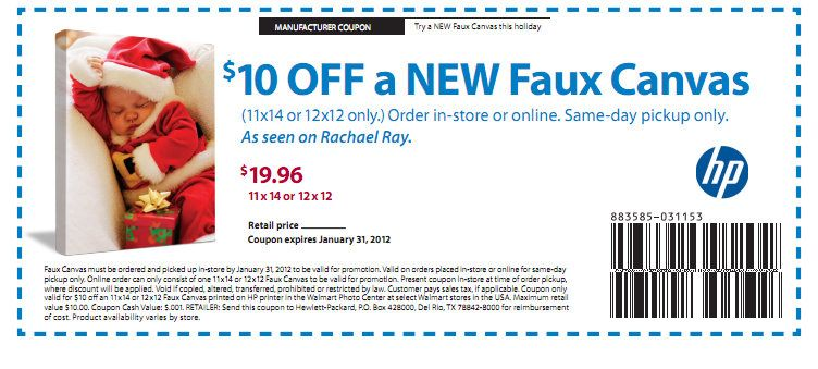 coupons for canvas prints at walmart