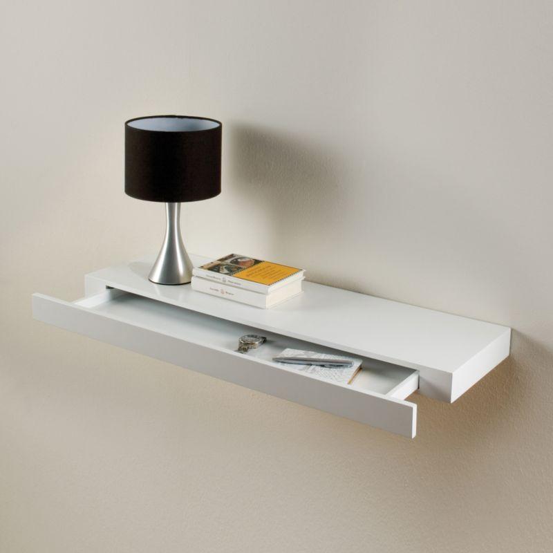 details about floating drawer shelf concealed storage white gloss bookshelf 48cm x 25cm x 10cm. Black Bedroom Furniture Sets. Home Design Ideas