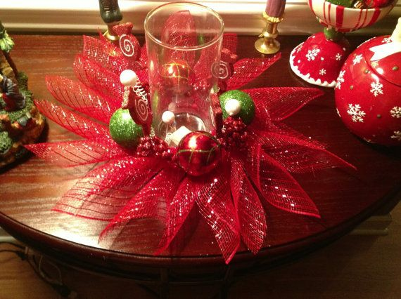 Christmas deco mesh centerpiece by eriebluehomeaccents on