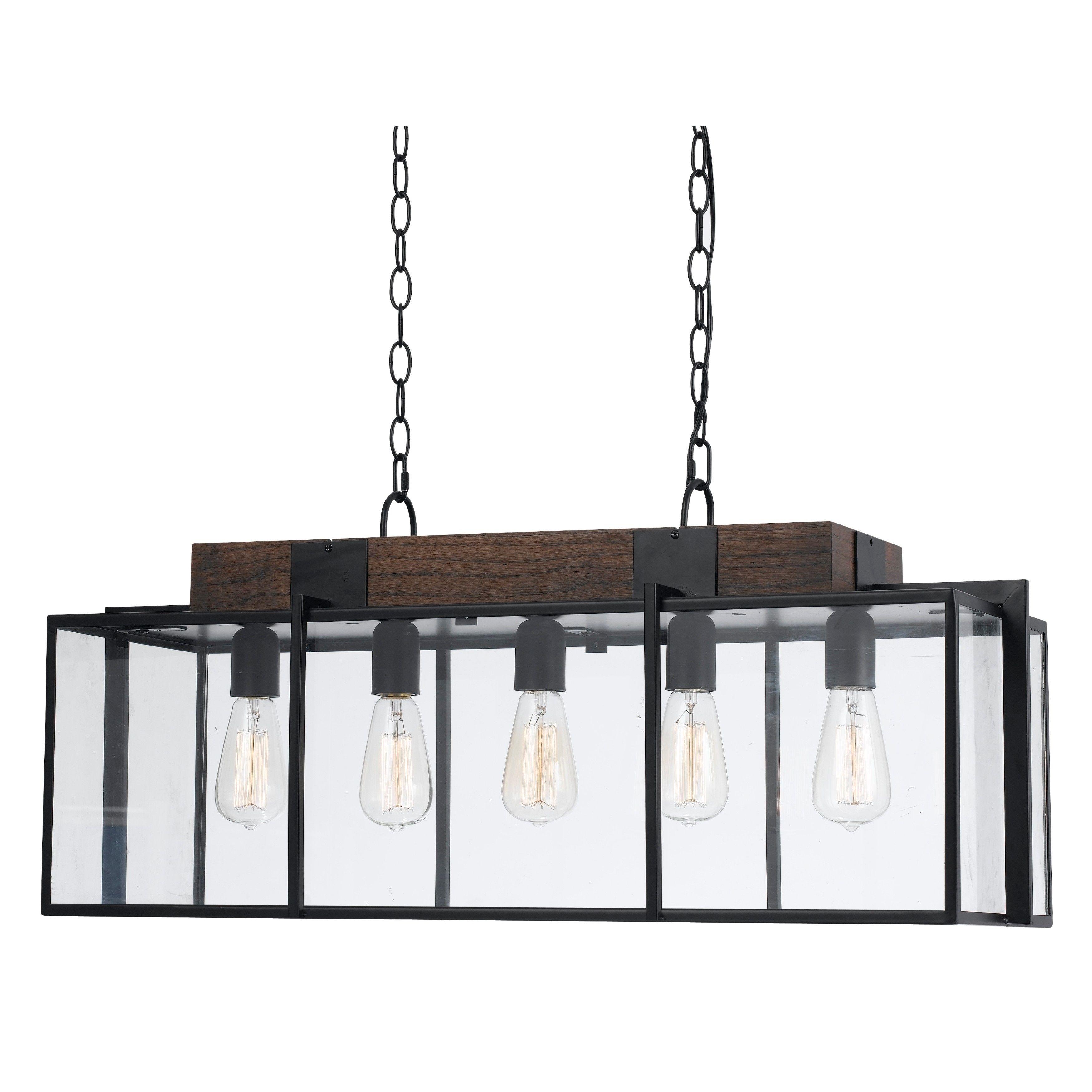 60 watt 5 light Antonio Chandelier Chandelier Bronze Glass