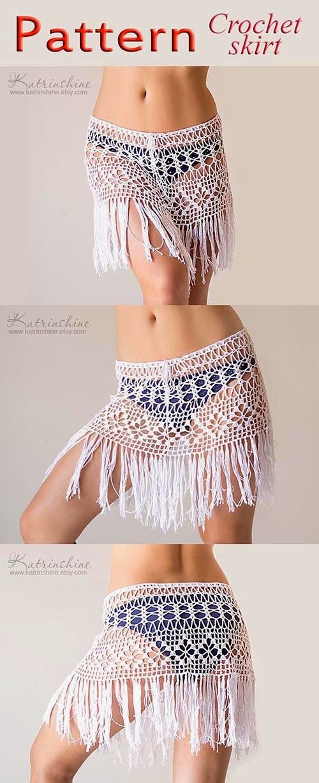 Katrinshine New Pattern For Fringed Boho Beach Crochet Skirt