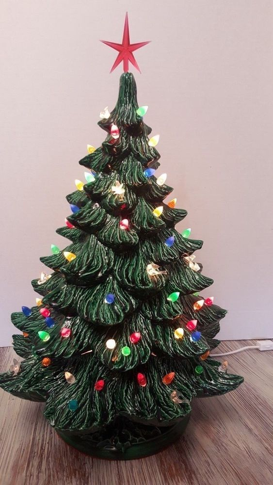 Ceramic Christmas Tree 22 3 Pieces Lights Up With Red Star Lights Ornaments Ebay Ceramic Christmas Trees Lighted Ornaments Christmas Tree