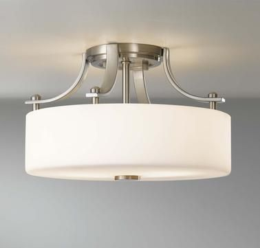 Feiss sunset drive 2 light semi flush mount in brushed steel