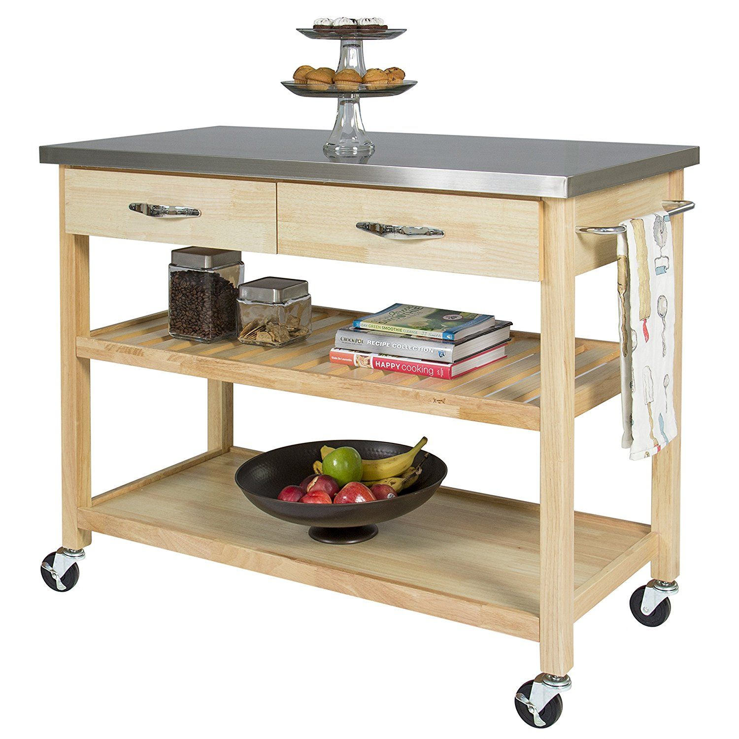 AmazonSmile   BCP Natural Wood Kitchen Island Utility Cart With Stainless  Steel Top Restaurant   Kitchen Islands U0026 Carts