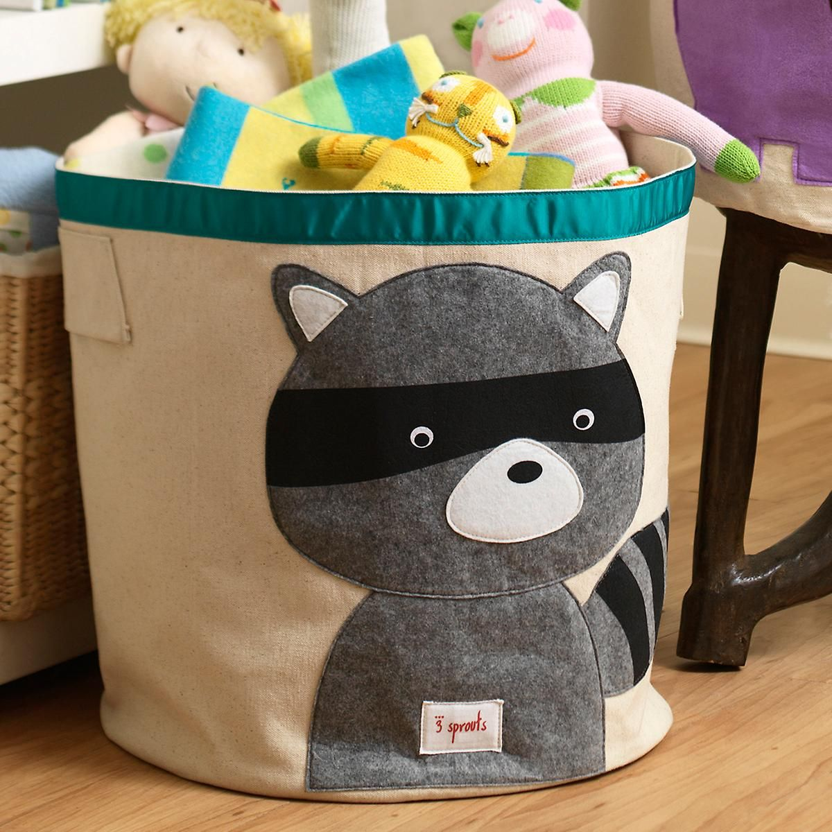 3 Sprouts Raccoon Canvas Toy Storage Bin Bornevaerelse
