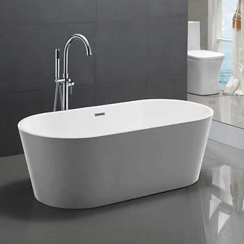 Chand Freestanding Soaker Tub With Faucet In 2020 Soaker Tub