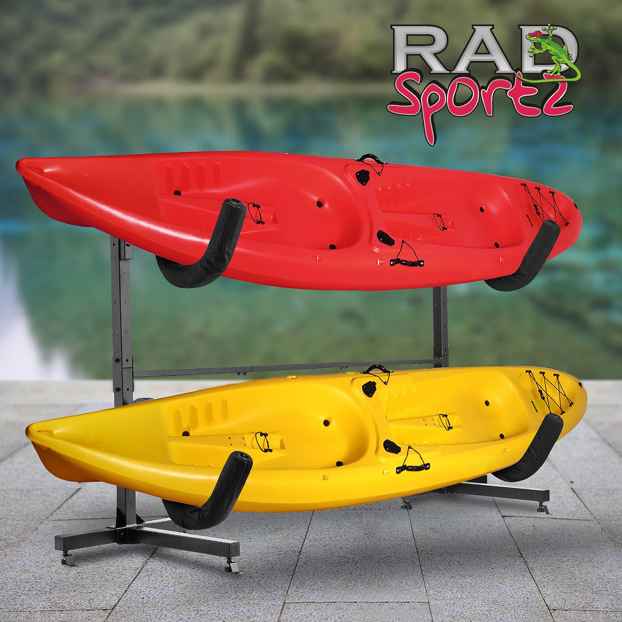 RAD Sportz , Indoor Outdoor Freestanding , Heavy Duty Two Kayak Storage ,  Kayak Or Paddle Board Storage Rack System